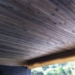 Exterior cedar soffit T&G natural stain grey