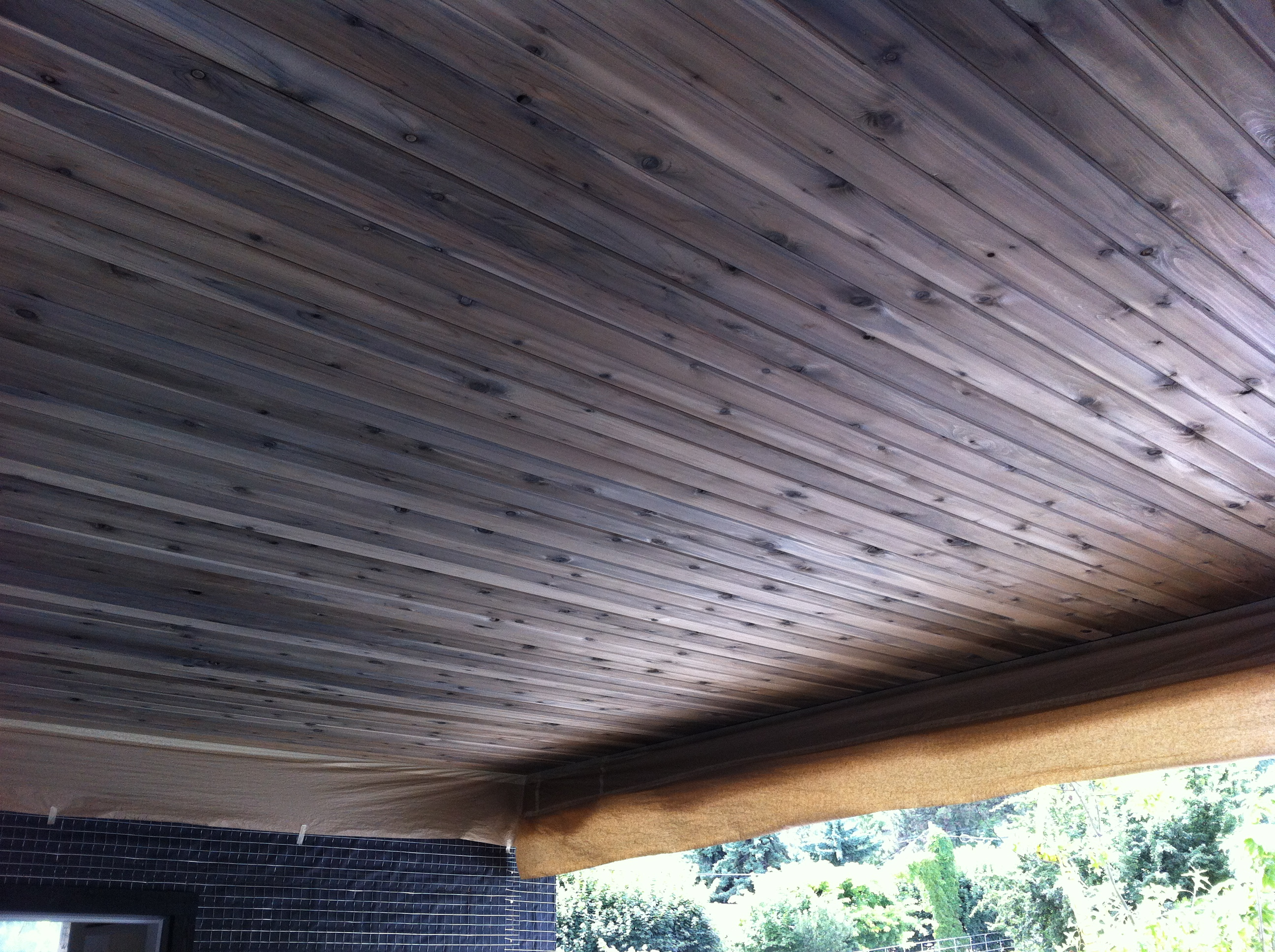 Natural Grey Wood Stain on Cedar Soffit Modern Kelowna Home